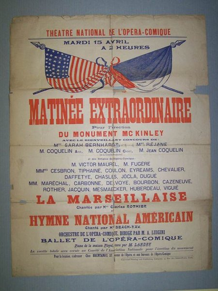 Poster from Paris, France for a concert to raise money to help build the McKinley National Memorial.