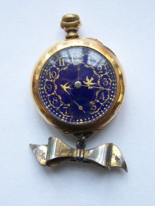 Dueber Hampden Pocket Watch, Bluebird edition of a Molly Stark model. Given to John Dueber's personal secretary, Bertha Viola McKinney. It is believed that only 26 were made.