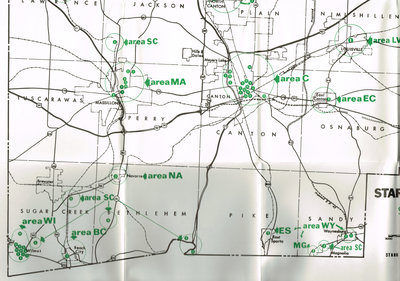 Partial view of a map that features the historical sites in Stark County in 1976. In the collection of the Ramsayer Research Library.